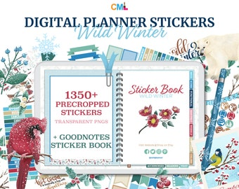 Wild Winter Digital Planner Precropped Stickers & Goodnotes Sticker Book - 1,358  Winter Stickers, Icons, Boxes, Checklists, Accessories