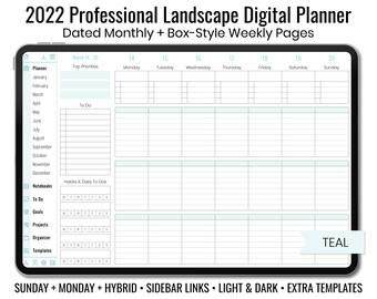 2022 Minimal Professional Landscape Digital Planner - Light & Dark Mode - Box-Style Weekly Layout - Sunday + Monday + Hybrid - Teal