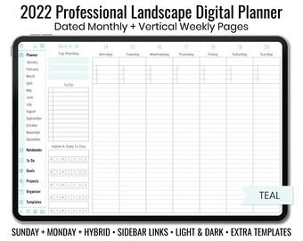 2022 Minimal Professional Landscape Digital Planner - Light & Dark Mode - Vertical Weekly Layout - Sunday + Monday + Hybrid - Teal