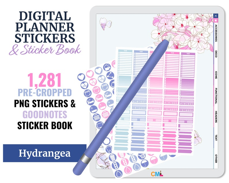 Digital PNG Stickers & Goodnotes Sticker Book  Hydrangea  image 0