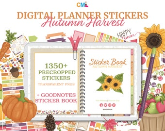 Autumn Harvest Digital Planner Precropped Stickers & Goodnotes Sticker Book - 1,359  Fall Stickers, Icons, Boxes, Checklists, Accessories