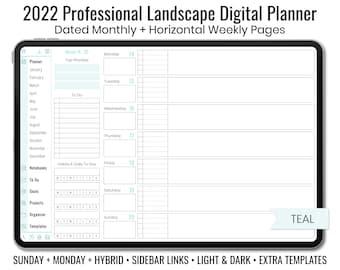2022 Minimal Professional Landscape Digital Planner - Light & Dark Mode - Horizontal Weekly Layout - Sunday + Monday + Hybrid - Teal