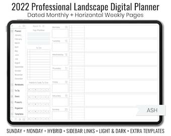 2022 Minimal Professional Landscape Digital Planner - Light & Dark Mode - Horizontal Weekly Layout - Sunday + Monday + Hybrid - Ash