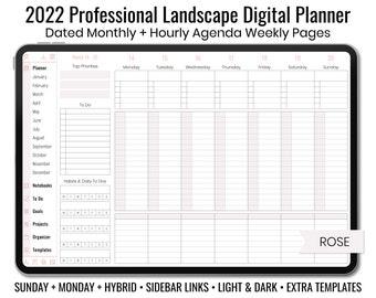 2022 Minimal Professional Landscape Digital Planner - Light & Dark Mode - Hourly Weekly Layout - Sunday + Monday + Hybrid - Rose