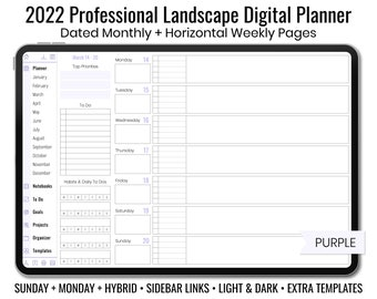 2022 Minimal Professional Landscape Digital Planner - Light & Dark Mode - Horizontal Weekly Layout - Sunday + Monday + Hybrid - Purple