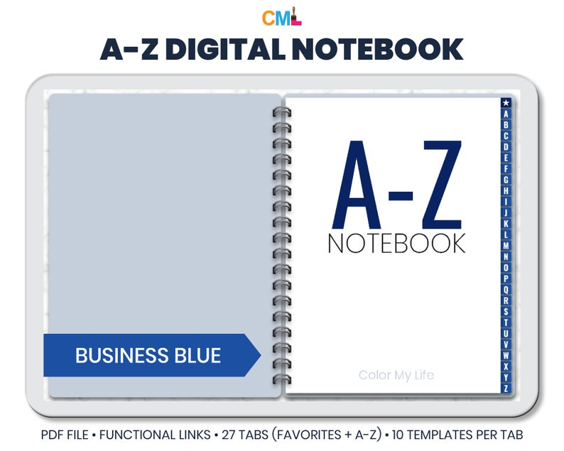A-Z Alphabetical Digital Notebook  Landscape With Rings  27 image 1