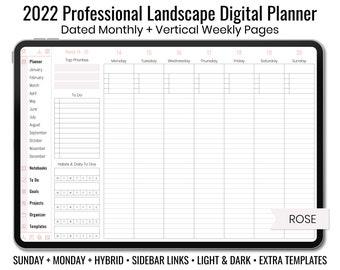 2022 Minimal Professional Landscape Digital Planner - Light & Dark Mode - Vertical Weekly Layout - Sunday + Monday + Hybrid - Rose