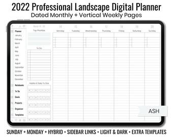 2022 Minimal Professional Landscape Digital Planner - Light & Dark Mode - Vertical Weekly Layout - Sunday + Monday + Hybrid - Ash