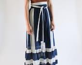 Vintage 1970s Maxi Striped Skirt 24 | Maxi Striped Skirt | Navy Blue White Striped Skirt | Skirt with Tie | Ruffled Skirt