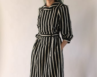Vintage 1980s Striped Dress | 80s Black and White Dress | Secretary Dress | Pin Stripe Dress | Fold Over Collar Dres