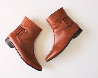 Vintage 1990s Brown Ankle Boots 7.5 | Ankle Booties | Brown Caramel Leather Ankle Boots | Talbots Booties