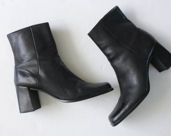 Vintage 1990s Black Ankle Boots 6.5 | Ankle Booties | Black Leather Ankle Boots | Nine West Booties