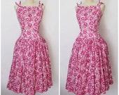 1950s Dress   50s Full Skirt Dress   Pink Floral Dress   Jerry Gilden Dress   50s Drop Waist Dress   XS - S