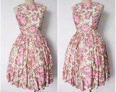 Vintage 1950s Dress   Rose Print Dress   1950s Rose Print Dress   Full Skirt Dress   Mad Men   S