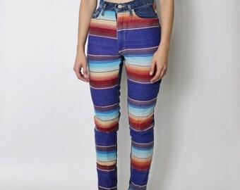 Vintage 1980s High Waist Denim Jeans | Mexican Fabric Denim Jeans | Southwest Denim Jeans | High Waist Striped Jeans | sz 23.5 - 24