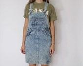 Vintage 1980s Overall Dress | Acid Wash Dress | Denim Overall Dress | S