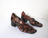 Vintage 1990s Sandals 6.5   Strap Sandales   Crisscross Sandals   Sandals with Heels   Brown Leather Sandals