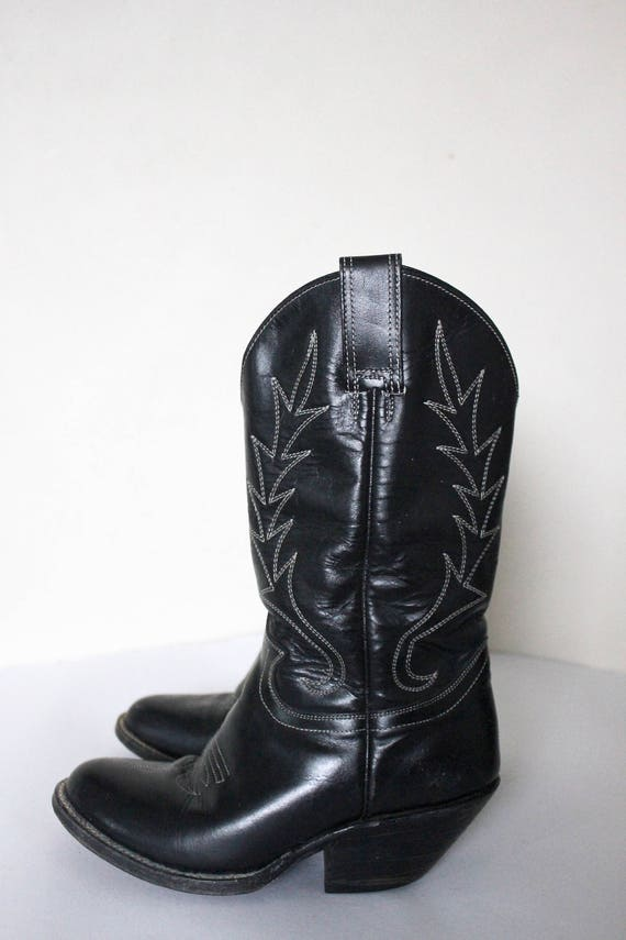 Vintage 1980s Cowboy Boots   Black Cowboy Boots  … - image 6