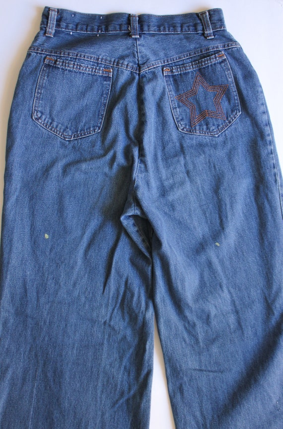 Vintage 1970s Star Embroidered Denim Jeans 25 | Wi