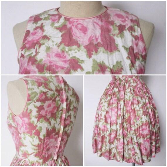 Vintage 1950s Dress   Rose Print Dress   1950s Ro… - image 5