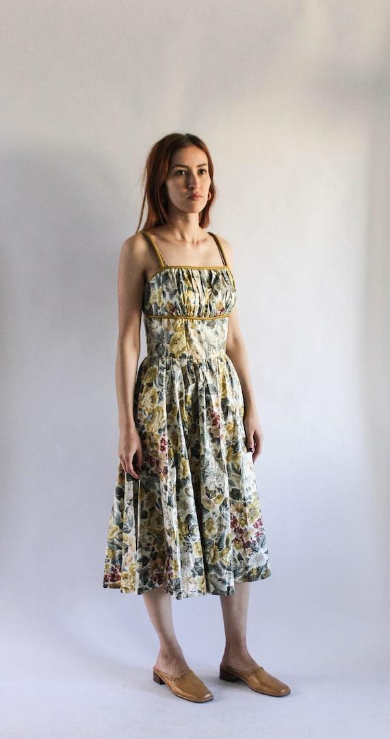 Vintage 1950s Floral Dress   Floral Dress   50s Fu