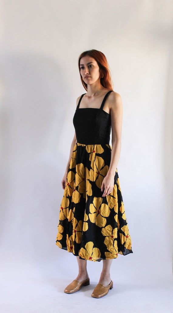 Vintage 1980s Liz Floral Dress| Black and yellow F