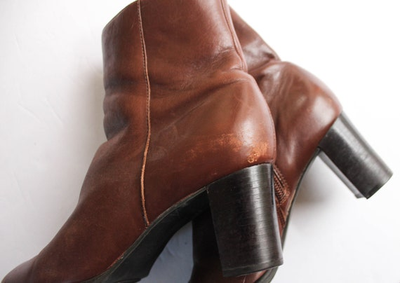 Vintage 1990s Brown Leather Boots 6.5 | Brown Ank… - image 5