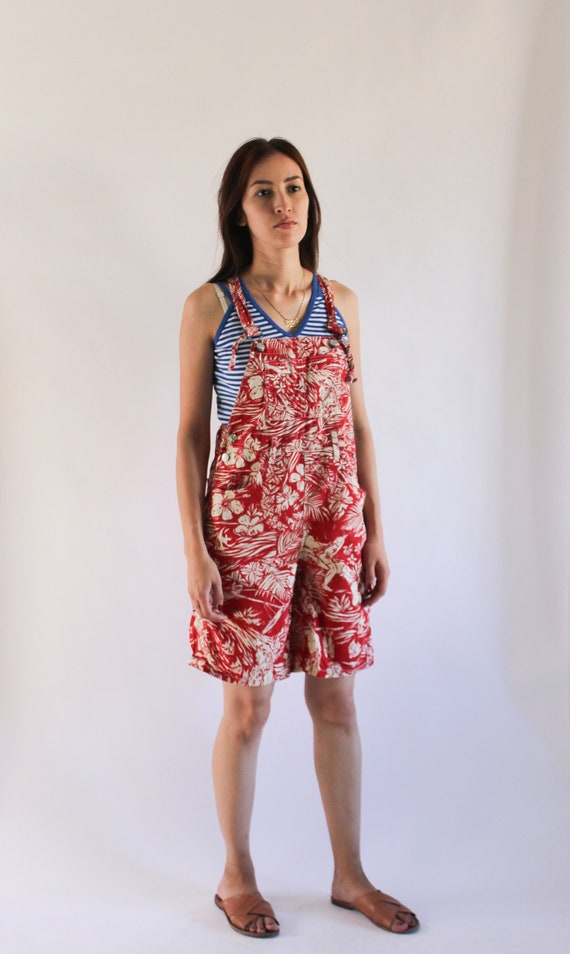 Vintage 1990s Denim Overalls | Red Novelty Print … - image 3