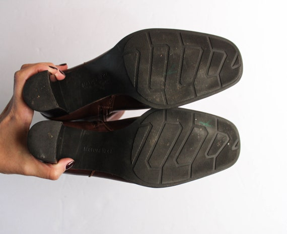 Vintage 1990s Brown Leather Boots 6.5 | Brown Ank… - image 8