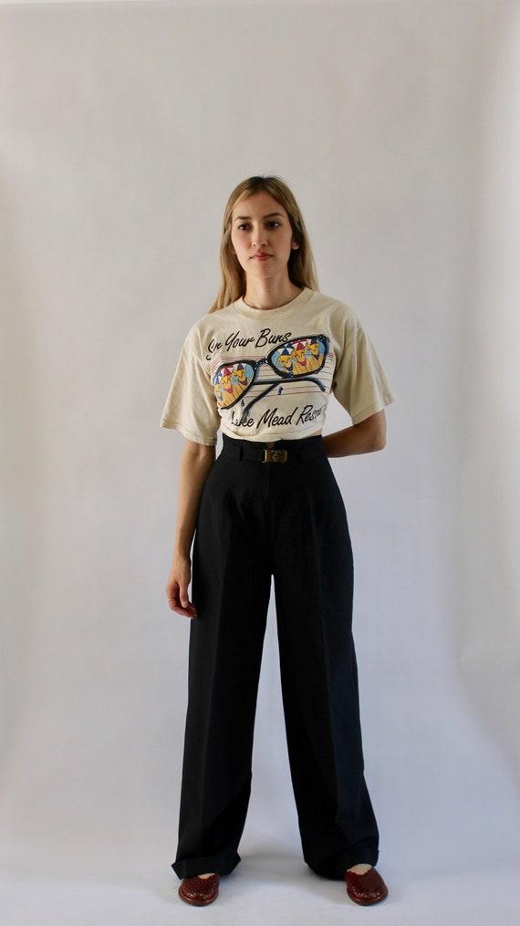 Vintage 1970s Black Wide Leg Pants 23.5 | High Wai