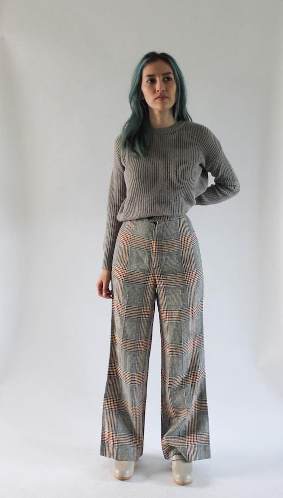Vintage 1970s Plaid Pants 25 | 70s High Waist Pant