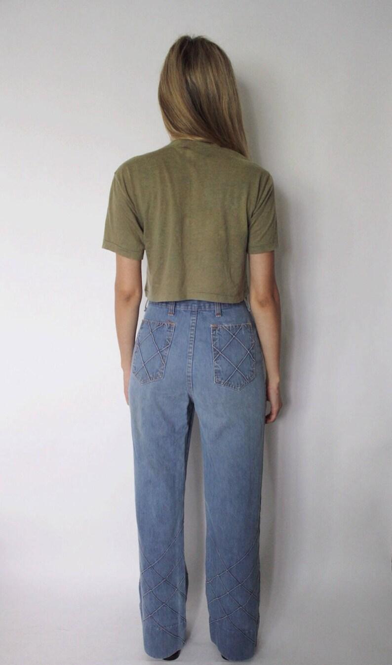 Patchwork Jeans 70s Jeans 1970s High Waist Denim Jeans 25 High Waist Jeans