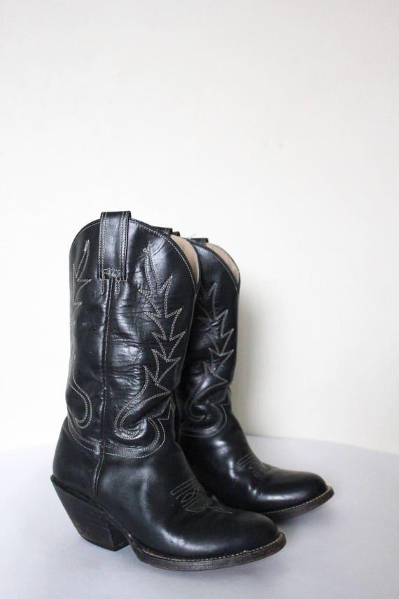 Vintage 1980s Cowboy Boots   Black Cowboy Boots  … - image 4