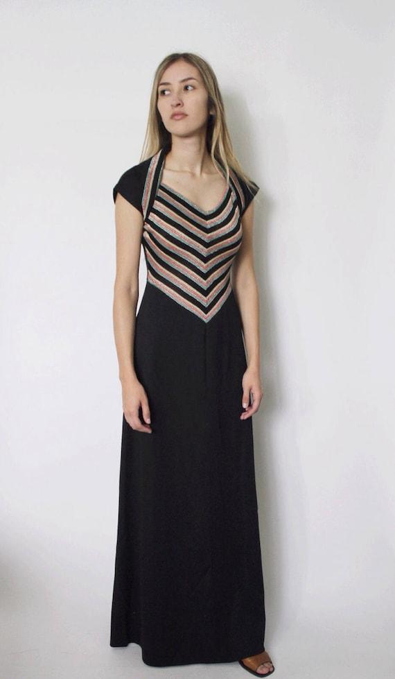 Vintage 1970s Dress | 70s Chevron Striped Dress |