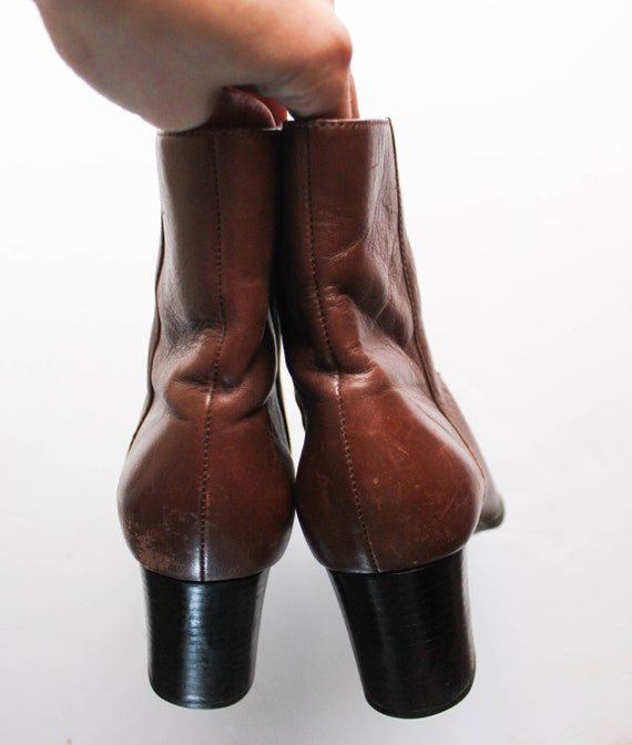 Vintage 1990s Brown Leather Boots 6.5 | Brown Ank… - image 4