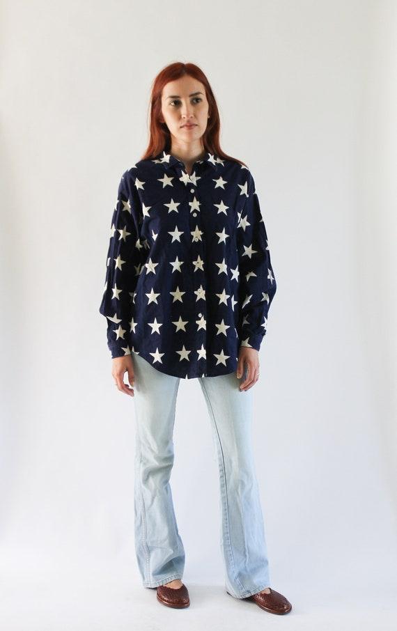 Vintage 1990s USA Shirt   Star Top   Star Button … - image 2