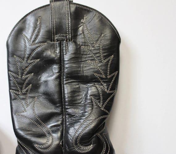 Vintage 1980s Cowboy Boots   Black Cowboy Boots  … - image 8