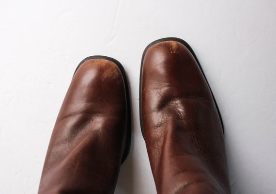 Vintage 1990s Brown Leather Boots 6.5 | Brown Ank… - image 6