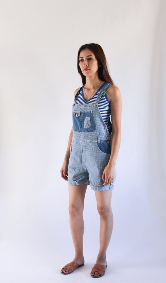 Vintage 1990s Denim Overalls | Blue Gingham Denim