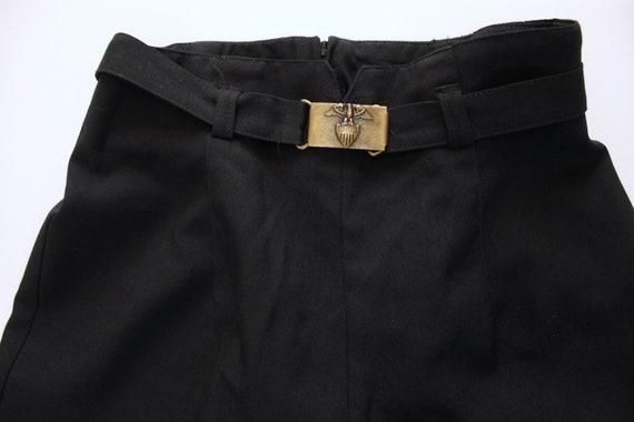 Vintage 1970s Black Wide Leg Pants 23.5   High Wa… - image 7