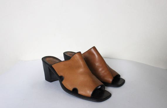 Heels Brown Mules On Slip Heels West Mules Cut Nine Beige 1990s Out 7 Mules Vintage Yw6vqv