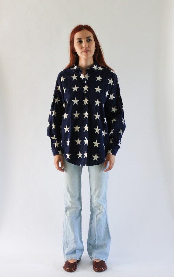 Vintage 1990s USA Shirt   Star Top   Star Button … - image 4