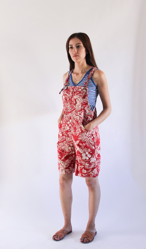 Vintage 1990s Denim Overalls | Red Novelty Print … - image 2