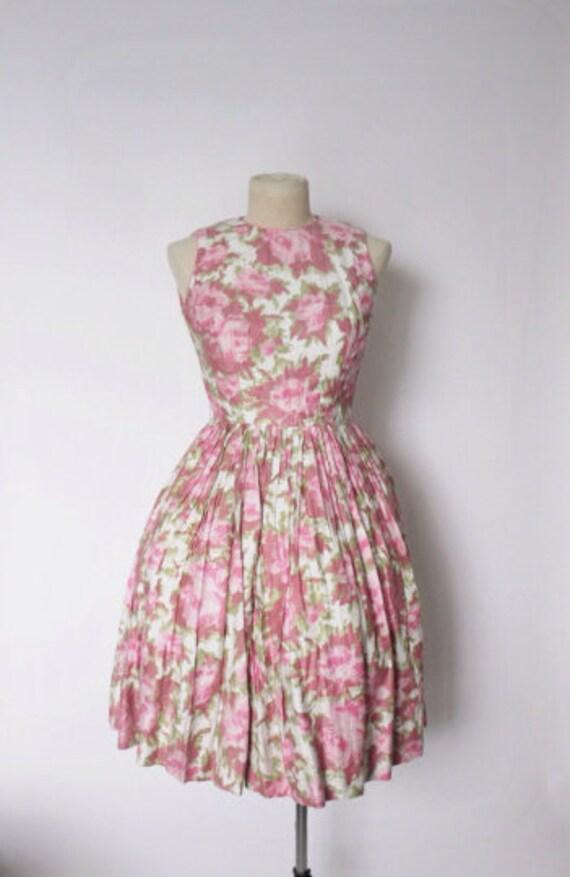 Vintage 1950s Dress   Rose Print Dress   1950s Ro… - image 2
