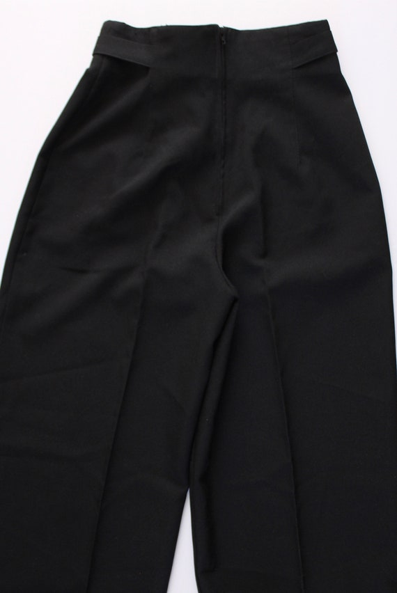 Vintage 1970s Black Wide Leg Pants 23.5   High Wa… - image 10