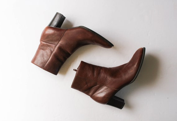 Vintage 1990s Brown Leather Boots 6.5 | Brown Ank… - image 1