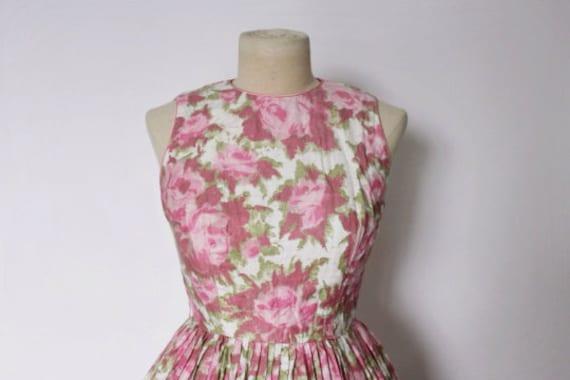 Vintage 1950s Dress   Rose Print Dress   1950s Ro… - image 3