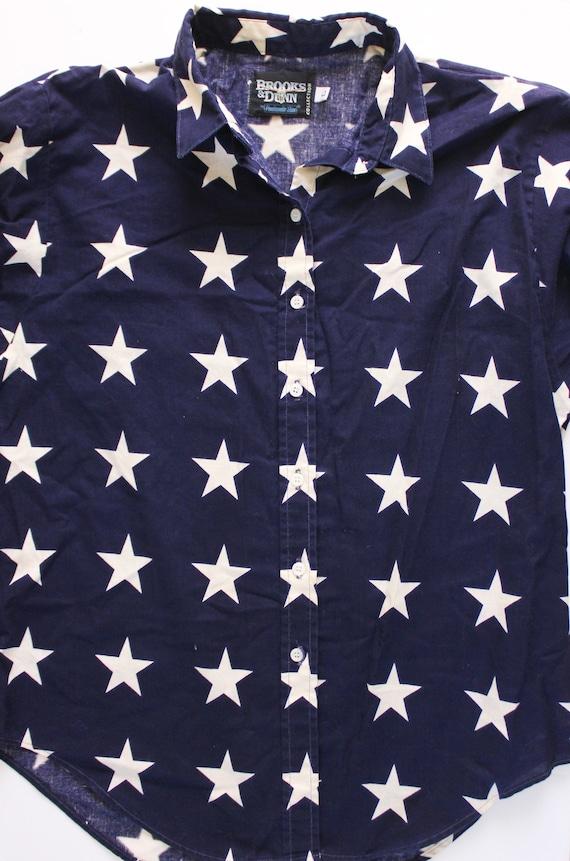 Vintage 1990s USA Shirt   Star Top   Star Button … - image 5