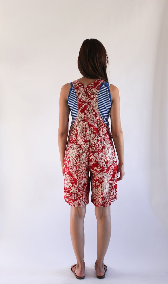 Vintage 1990s Denim Overalls | Red Novelty Print … - image 5