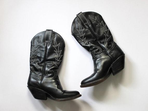 Vintage 1980s Cowboy Boots | Black Cowboy Boots |
